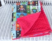 Robot Toddler Minky Comforter -  Bright Robot Block Fabric - Choose Your Minky Backing - MADE TO ORDER