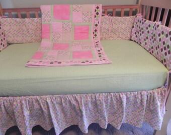 Girls Crib Bedding Set - 6 pieces - Skirt-Crib Sheet-Quilt-Bumper Set-Diaper Stacker-Crib Organizer-READY TO SHIP