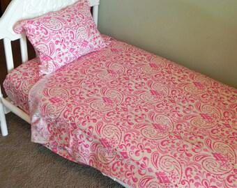 Toddler Bedding - Toddler Bed Sheet Set - 3 piece set in Kumari Garden Bedding -MADE TO ORDER