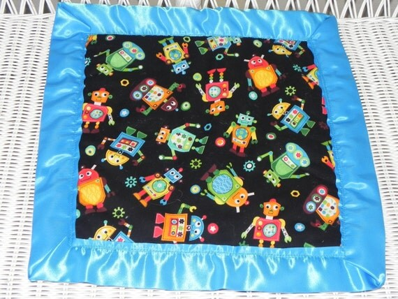 Robot Minky Lovey  - Satin Trimmed Security Blanket