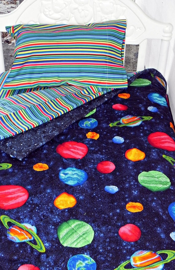 Toddler Bedding Set Solar System Quilt With Coordinating