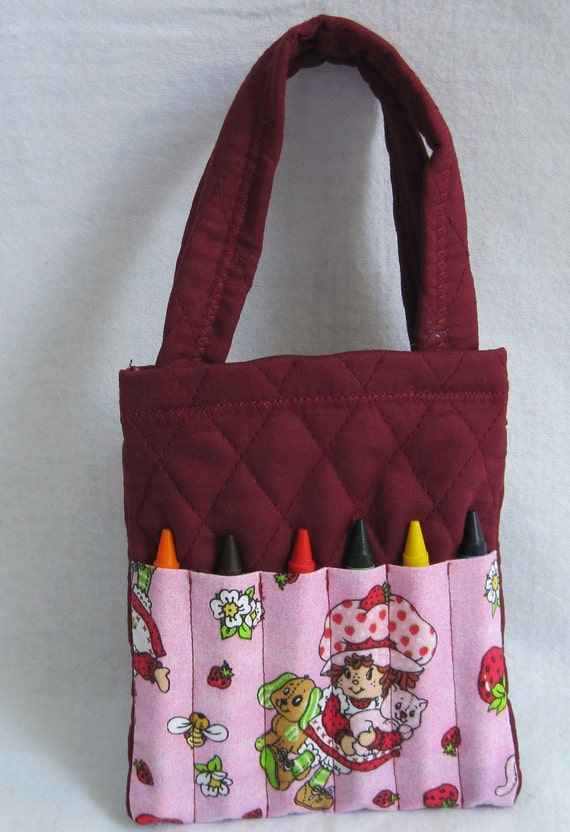 Maroon Strawberry Shortcake quilted crayon tote bag