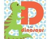 Children's Animal Alphabet Nursery Art Print 9x9 - D is for Dinosaur