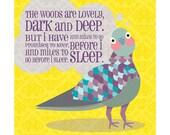Children's Nursery Art Print 9x9: Pigeon Poem