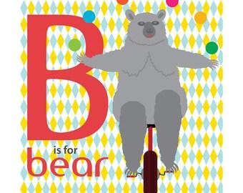 Children's Animal Alphabet Nursery Art Print 9x9 - B is for Bear, Bear on a Unicycle