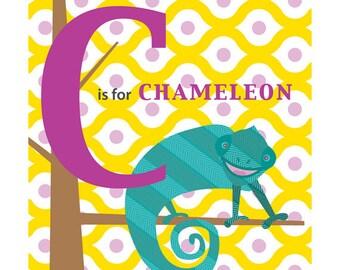 Children's Nursery Art Print Animal Alphabet- C is for Chameleon