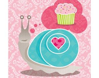 Giclee Wall Art Print: Snail Love, Cupcake, Pink, Room Decor 9x9