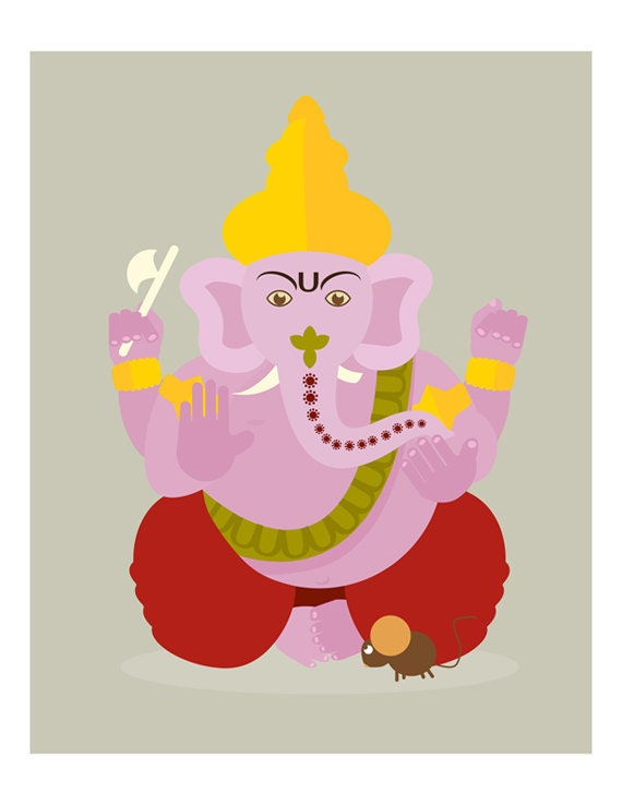 Indian Ganesh India Wall Art Print 8x10 LIMITED EDITION