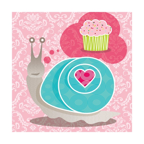 Giclee Wall Art Print: Snail Love, Cupcake, Pink, Room Decor 9x9