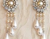 Bridal Chandelier Earrings Victorian Bridal Earrings champagne pearl and rhinestone earrings Drop Pearls Vintage Pearl Earrings Rhinestone