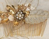 Bridal Hair Comb Pearls Vintage Wedding Hair comb Flower Vintage Shabby Chic Bride Hair Comb Gold Leafs Hair Piece Leafs Pearls Victorian