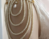 Shoulder Epaulettes Bridal Jewelry Accessories Ivory Pearls And Rhinestones, 1920 Inspiration Shoulders Necklace,Wedding
