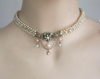 Vintage Bridal Pearls Choker Victorian Wedding Choker Pearls and swarovski Crystals Choker Chain Drop Pearl Collar Necklace Choker Necklace