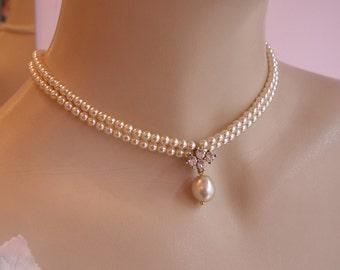Bridal Choker Necklace Vintage Pearls Necklace Pearls Rhinestone Ivory Cream Vintage Luxe Bride Necklace  Drop Pearl Necklace Romantic