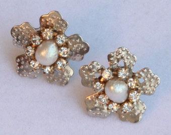 Bridal Real Pearls Rhinestone Earrings Jewelry Silver Victorian Wedding Crystals Bridesmaids Vintage Wedding Silver Star Earrings