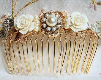 Bridal Hair Comb Wedding Hair Accessories Gold Wedding Hair Comb,Vintage Style Hair Piece Ivory Flowers Hair Piece Jewelry with Pearls Comb