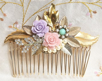 Gold Bridal hair Comb Leafs  Hair Comb Hair Accessories Pearls Hair Comb,Lavender Vintage jewelry Rhinestone Collage wedding Hair Comb