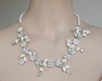Wedding Bridal Luxe Necklace Bridal Jewelry White Wedding Blossom Diamond Shape Silver Clear Crystals FW Pearls Leaves And Flowers