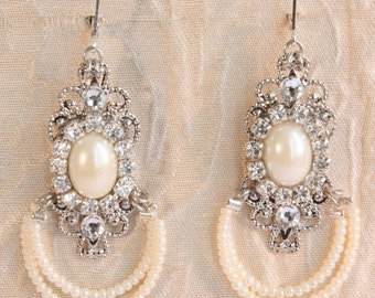 Bridal Earrings Chandelier Rhinestones Bride Pearl Earrings Weddings Earrings Two Rows Ivory Pearls Silver Victorian Weddings Pearl Earrings