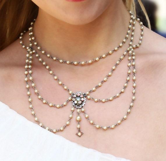 Weddings Pearl Necklace Vintage Silver Flower bridal Necklace Swarovski Pearls Crystals Bride Necklace Vintage Ivory Pearls and Rhinestones