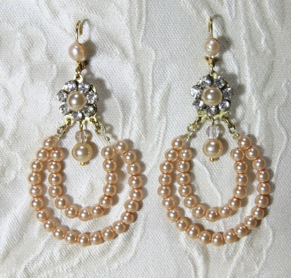 Annie - Ivory Bridal Earrings Wedding Vintage Beaded Chandelier Gold Plated Filigree Set with Swarovski Rhinestone  And drop Pearl