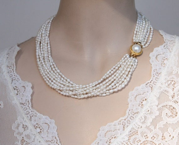 RESERVED For MELISSA Only - Bridal wedding Pearls Necklace Multi Strand , Classic, Golden Clasp