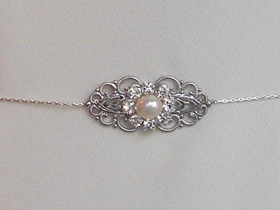 Silver Rhinestone Crystal & Pearls Bridal Belt Sash, Victorian Vintage Style Jewelry Wedding Dress Belt Accessory, Unique Bridal Sash chain
