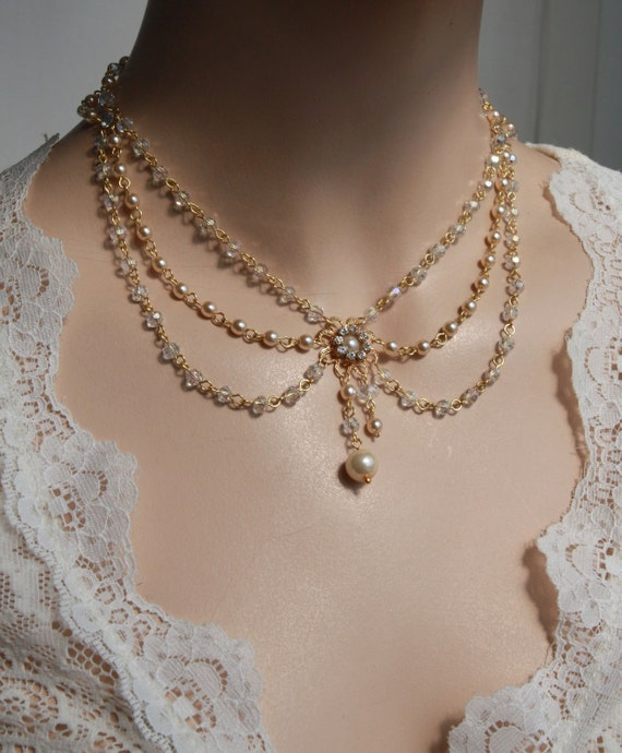 Victorian Bridal Necklace Vintage Necklace Swarovski Crystals Ivory Pearls Art Deco Rhinestone And Pearls Wedding Necklace - Lacey