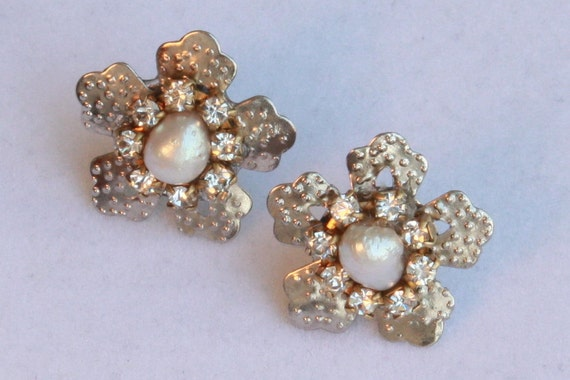 Bridal Real Pearls Rhinestone Earrings Jewelry Silver Victorian Wedding Crystals Bridesmaids Vintage Wedding Silver Star Earrings