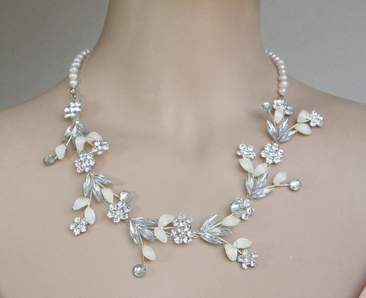 wedding bridal luxe necklace bridal jewelry white wedding