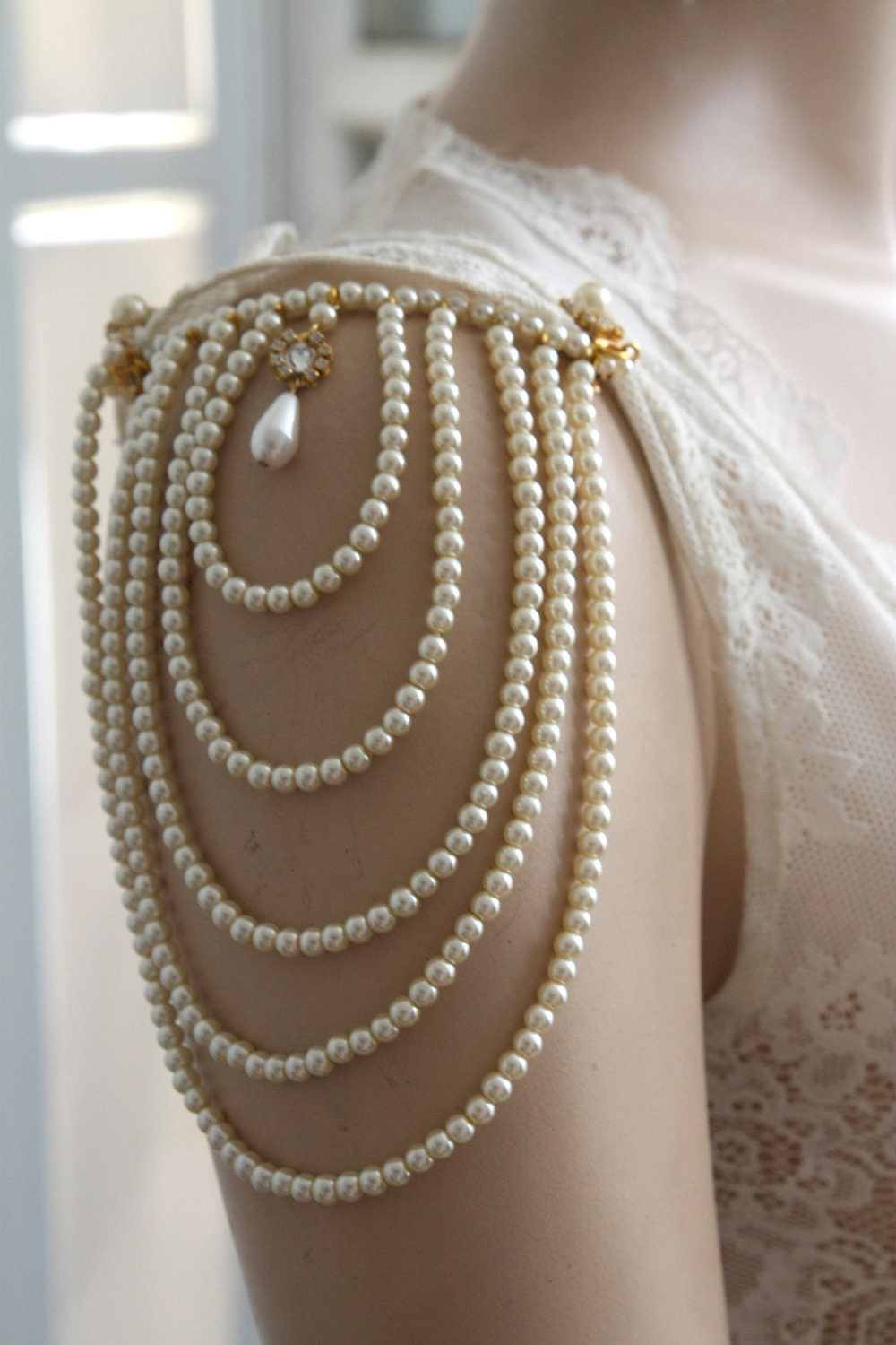 Shoulder Epaulettes Bridal Jewelry Accessories Ivory Pearls