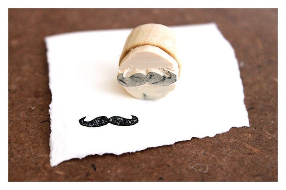 Hand carved Rubber Stamp Mustache - Medium. Completely hand made.