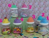 Fake Cupcake Whirled Icing Top Jars - Set of 2 (glass screw top 22 ounce jars) see details to add a name