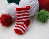 Mini Christmas Ornament - red and white stocking - mini stocking - hand knit stocking - gift card holder