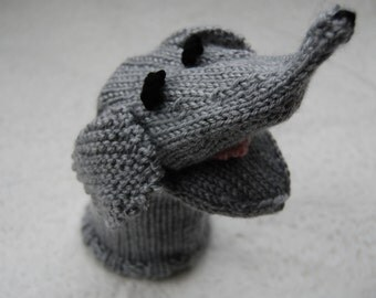 Hand Puppet, gray elephant puppet, hand knit puppet, knit animal puppet, elephant hand puppet, knit elephant toy, elephant sock puppet