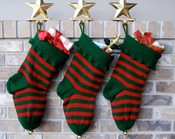 Striped Christmas Stocking, knit Christmas, red and green stocking, knit stocking, striped stocking, jester cuff stocking, green Christmas