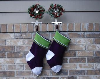 Hand knit Christmas Stocking, knit purple stocking, purple Christmas, knit stocking purple, purple and green stocking, green Christmas knit