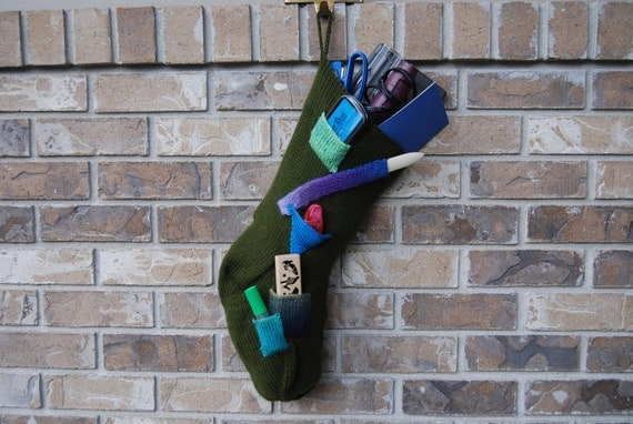 Hand knit Christmas stocking, knit olive stocking, green knit stocking, green Christmas, olive green stocking, stocking christmas knit