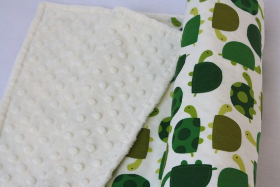 "Baby Blanket, Robert Kaufman's ""Urban Zoologie Turtles in Grass,"" backed with Ivory Bubble Dot Minky"