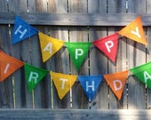 Primary Colors Happy Birthday Burlap Bunting Banner: Photo Prop, Mantle Decor, Wall Decor (can customize colors)