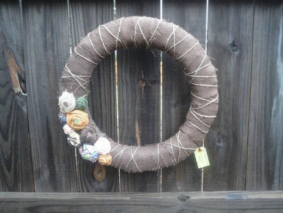 """18"""" Burlap Wreath/Door Hanging/Door Decor With Rosettes Shabby Chic/Rustic"""