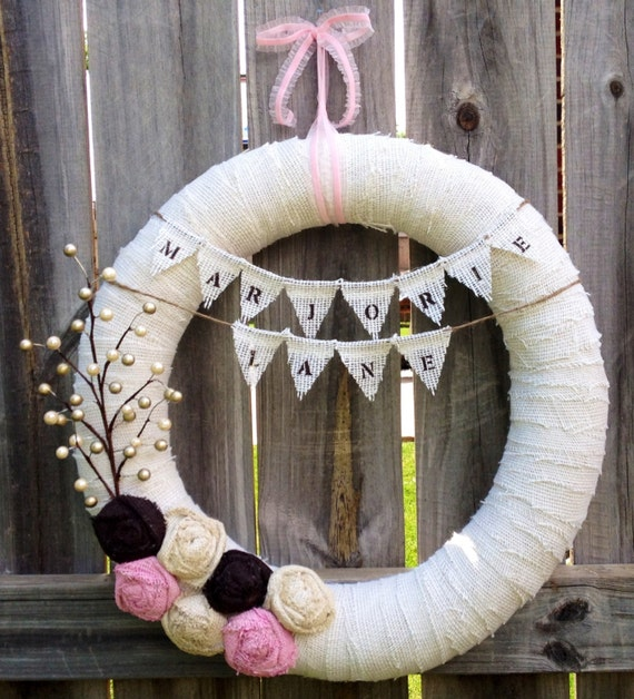 Items similar to 18 new baby girl wreath nursery baby for Baby girl hospital door decoration