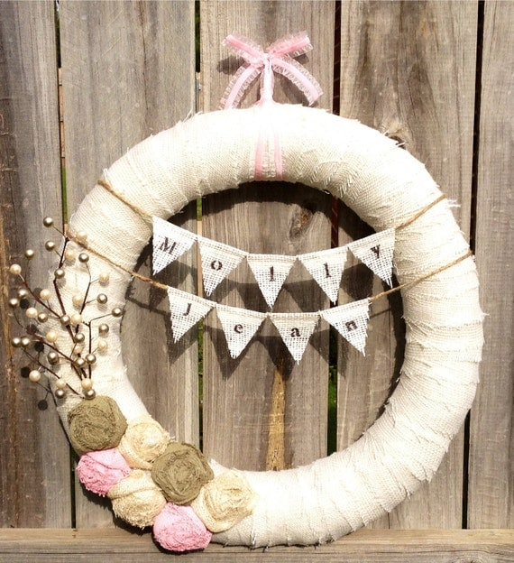 Items similar to 18 new baby girl wreath nursery baby for Baby hospital door decoration