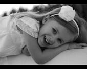 Flower Girl Headband in White Chiffon- READY TO SHIP