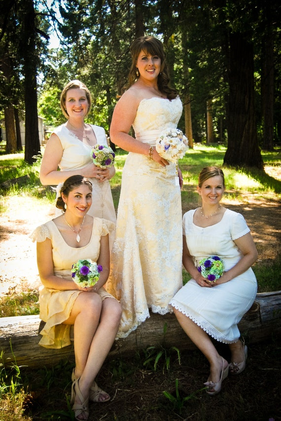 Reserved for Brittany - Custom Made Upcycled Bridesmaid Dresses Deposit - Set of 5