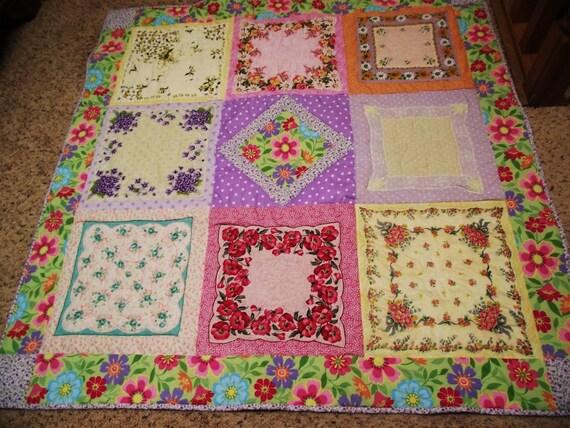 SALE Vintage Hankies Quilt BETSY by Grannies Hankies