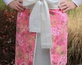 hostess apron.  half apron.  pink, lime and cream.