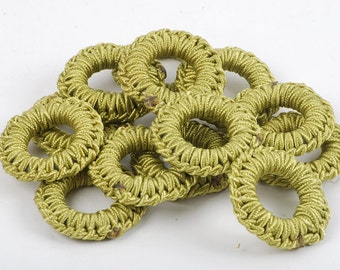 38mm Lime Green Beads - 34 Count