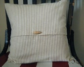 Pillow Cover- neutral stripes with toggle button