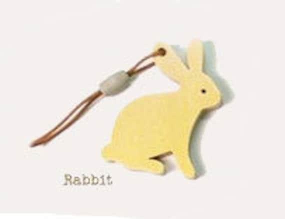 Wooden Rabbit keychain, cell phone lanyard